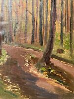 Impressionist Waldweg Laubwald Natur Ölbild Studie 26,5 x 20,5 Anonym April 1932