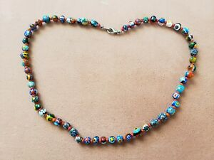 "HAND-MADE GLASS BEAD (7-8mm) NECKLACE, 17"" LONG, Made in USA"