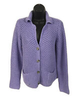 J Jill Open Knit Cardigan Sweater Womens S Small Purple Collar Button Front