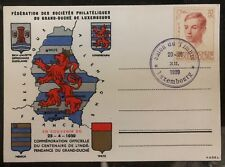 1939 Luxembourg Souvenir Postcard Cover Grand Duche Philatelic Exhibition Map