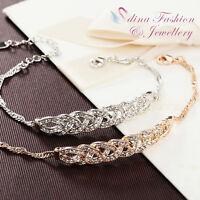 18K White & Rose Gold GP Made With Swarovski Element Love Waltz Braided Bracelet