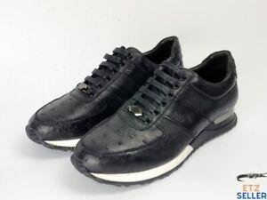 Men's Shoes Genuine Ostrich Skin Leather Handmade Black Size 10US - 43EU #2209