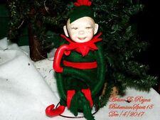 Arturo E.Reyna Little Elves Figure Christmas Porcelain Head 8'' Ornament Doll