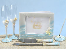 Starfish Beach Wedding Guest Book Pen Toasting Flutes Cake Knife Server