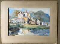 Vintage Watercolour Continental Town 1945 Card Signed Lauont Old Town Ventimigla