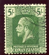 Cayman Island 1921 KGV 5s deep green/pale yellow very fine used. SG 64a.