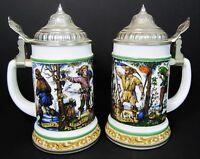 2 Vtg German Beer Stein Milk Glass Metal Lid BMF Bierseidel Seasons Drinking