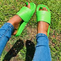 Cape Robbin SUPER SNAKE Neon Green Faux Snake Embossed Flat Slip-On Slide Sandal