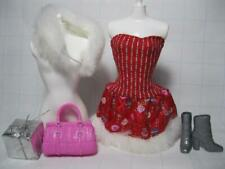 BARBIE Doll Clothes-FESTIVE CHRISTMAS HOLIDAY RED Dress/FUR STOLE/ BOOTS OUTFIT