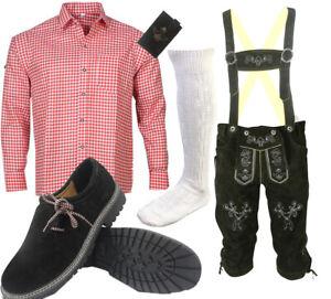 Herren Trachtenset Trachten Set Trachtenlederhose 6tlg Hose Hemd Schuhe SLHRH01