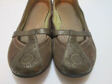15ab9f010c1 Privo Brown Suede Leather Bronze Mary Jane Ballet Flats Women s Shoes Size  ...