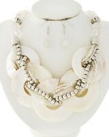Chunky White Abalone Shell Braided Strand Silver beads Necklace Earrings Set