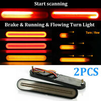 "9"" Inch Car Red Amber LED Brake Tail Light Bar Turn Signal Flowing Indicator 12V"