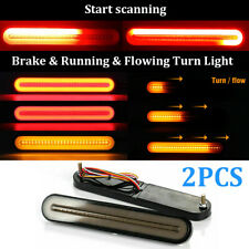 "9"" Inch Car Red Amber LED Brake Tail Light Bar Turn Signal Flowing Indicator 12V"