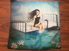 Mermaid On a Seabed Manga Retro Style Linen Square Pillow Cushion Cover.