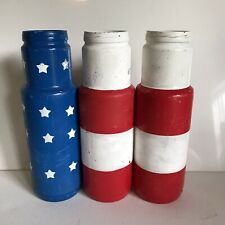 3 Pc Patriotic 4th of July Colorful Vases For Centerpieces Distressed