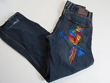 COOGI Jeans  36 x 33 with Big Parrot Embroidered on Pockets FLAW Holes in hems