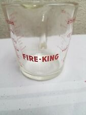 Fire king 16 oz glass measuring cup #498 Made in USA Red lettering cooking use