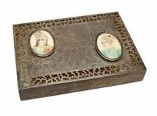 Antique Middle Eastern Sterling Silver Pierced Potpourri Box, Mini Portraits
