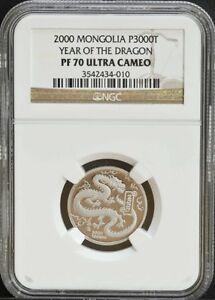 RARE MINT 2000 Mongolia Platinum Dragon Coin NGC PF70