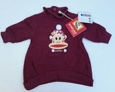 Paul Frank Baby Sweatshirt Top Designer Small Paul  Burgandy w/pom poms 3 months