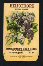 ANTIQUE 1918 HELIOTROPE MIXED SEED PACKET / ROUDABUSH SEED STORE, N.C. R-032