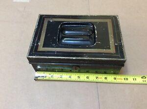 Vintage black metal lock box tin cash deed strong stripped scalloped design top