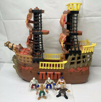 Fisher Price Imaginext Pirate Ship 5 Figures Triple Cannon Turtle 2006 Mattel