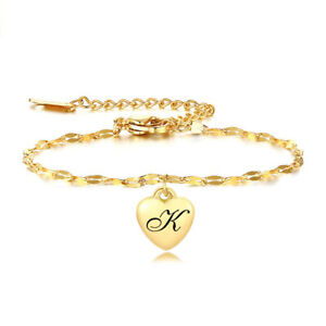 Personalized Initial Heart Charm Tag Women ID Bracelet Alphabet Name Letter Gift