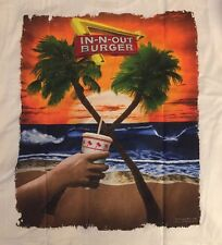 *NEW* IN N OUT BURGER Texas Beach & Palm Tree Graphics Adult XXL White T-Shirt