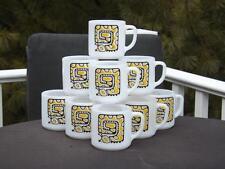 10 Federal Glass Milk Glass Yellow Snake Caterpillar Mug EXC
