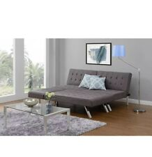 DHP Emily Futon Sofa Bed, Modern Convertible Couch With Chrome Legs Quickly