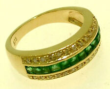 R167 Genuine 9K, 10K, 18K Gold Natural Emerald & Diamond Eternity Ring