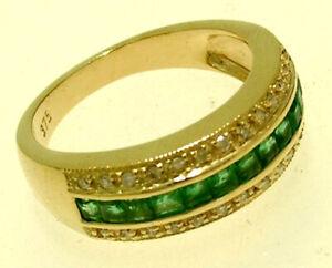 R167 Genuine 9K, 10K, 18K Gold Natural Emerald & Diamond Eternity Ring