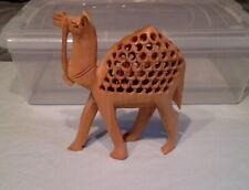 VINTAGE Jali Style Hand-Carved Wooden Mother Camel w/Baby Inside Figurine