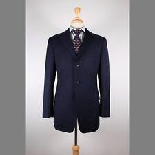 Ermenegildo Zegna 50/40L Navy Solid Wool 3B Mens Sport Coat Blazer Jacket 63-X