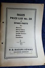 Rasspe price list mower binder tedder horse rake combine tractor W King Ltd 1953