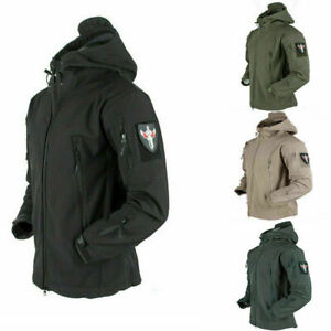 Waterproof Windproof Mens Soft Shell Jacket Tactical Hoodie Winter Military Coat