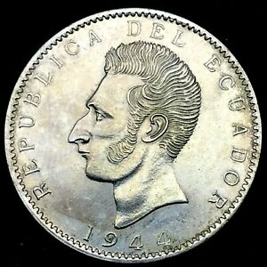 Ecuador 2 Sucres 1944 Mexico City Mint Uncirculated Silver Coin KM #80 C#5.