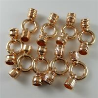 2x Rose Gold Color Plated Clasp End Cap Connector Alloy Jewelry Making Hole 8mm