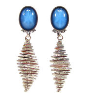 SoHo® Ohrclips mit vintage 1960s cabochons barbarella stil blue star sapphire
