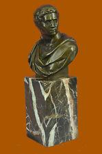 Handmade Caesar Bronze Sculpture Bust Bookend Book End Marble Base FigureDB