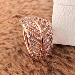 Authentic 925 Sterling Silver Rose Light As a Feather Ring Momnets Clear CZ NEW