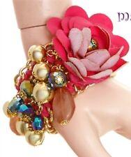 NEW Fuchsia Flower Multi Row Bracelet with Hanging Charms Statement Piece