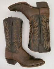 Justin Western Cowboy Boots Brown Leather Slip On Size 7.5D 2535