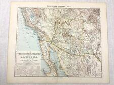 1907 Antique Map of The United States of America California Arizona New Mexico