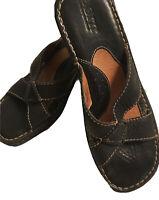BORN Slip-on Black Wedge Criss Cross Leather Sandals, Women's Size 7M