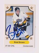 91/92 Brad Brown North Bay Centennials Autographed OHL Hockey Card