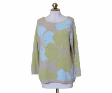 Coldwater Creek Beige Blue Green Ribbon Knit Floral Sweater Size PL