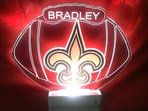 New Orleans Saints NFL Night Light Personalized LED Plug In, Dusk to Dawn Sensor
